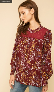 Ruffle Mock Neck Lace inset Blouse - Juli & Boutique