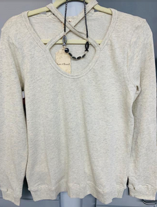 Cutout Front Cream Sweatshirt - Juli & Boutique