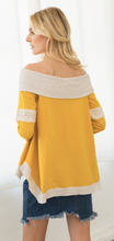 Load image into Gallery viewer, Lace Inset Mix Media Off Shoulder Sweatshirt Top - Juli & Boutique