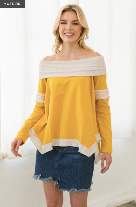 Lace Inset Mix Media Off Shoulder Sweatshirt Top - Juli & Boutique