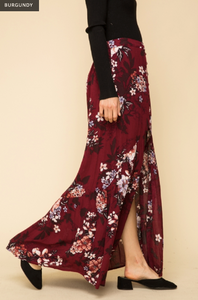Floral Printed Button Front Maxi Skirt - Juli & Boutique