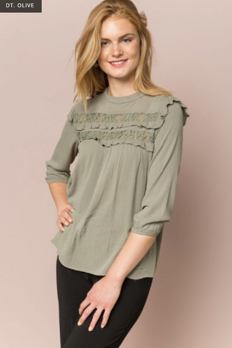 RUFFLED LACE INSET HI-LO PEASANT BLOUSE - Juli & Boutique