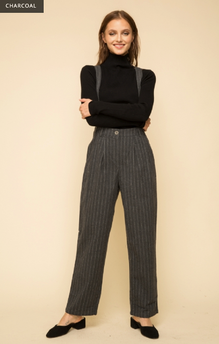 Pleated Stripe Wide Leg Overall - Juli & Boutique