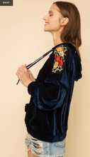 Load image into Gallery viewer, Embroidery Point Shoulder Velour Hoodie Pullover - Juli & Boutique