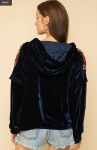 Embroidery Point Shoulder Velour Hoodie Pullover - Juli & Boutique
