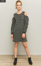 Load image into Gallery viewer, Cold Shoulder Ribbed Brush Dress - Juli & Boutique