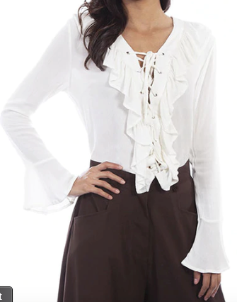 Bell Sleeve Blouse with Front Tie & Ruffles - Juli & Boutique