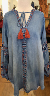 Embroidered Denim Tassel Top - Juli & Boutique