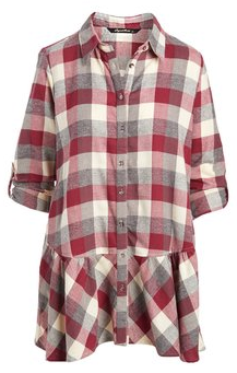 Berry Plaid Flannel with Peplum Hem - Juli & Boutique