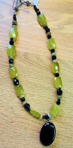 Black Onyx & Green Chalcedony Necklace - Juli & Boutique