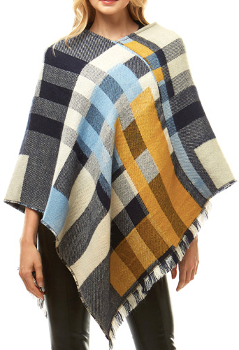 Blue Multicolor Poncho - Juli & Boutique