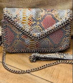 Snakeskin Print Crossbody Bag with Chain Strap - Juli & Boutique