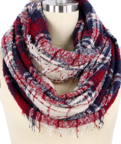 Wide Plaid Infinity Scarf - Juli & Boutique