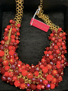 Christian Siriano Red Glowing Beaded Necklace - Juli & Boutique
