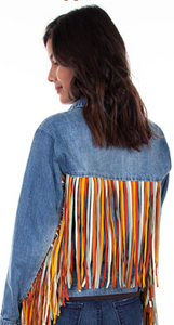 Denim jacket with leather fringe - Juli & Boutique