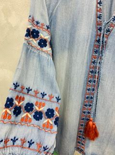 Load image into Gallery viewer, Boho Embroidered Denim Tassel Tunic - Juli & Boutique