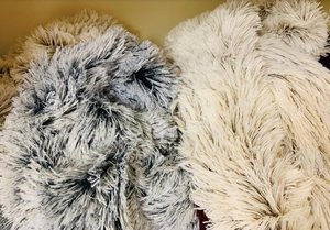 Fluffy soft faux fur infinity scarves in 2-tone black or taupe - Juli & Boutique