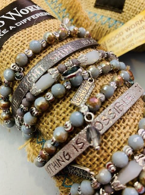 Leather & Crystal Good Works Bracelets- with a little Bling! - Juli & Boutique