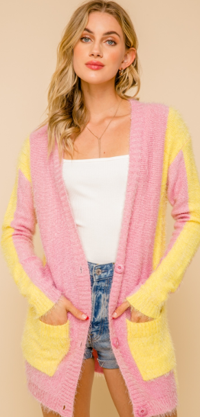 SOFT AND COZY PINK AND LEMON COLOR BLOCK CARDIGAN WITH POCKETS - Juli & Boutique