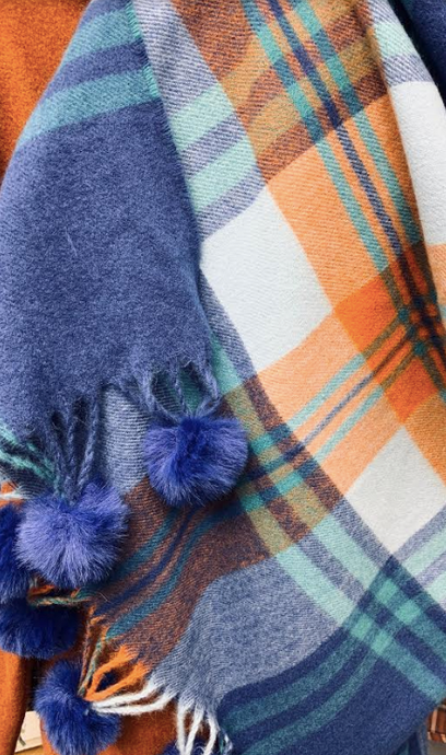 Super soft blues & rust plaid oversized scarf/wrap with poms. - Juli & Boutique