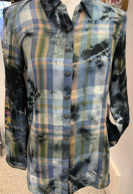 Multi colored plaid shirt with embroidered sleeves - Juli & Boutique
