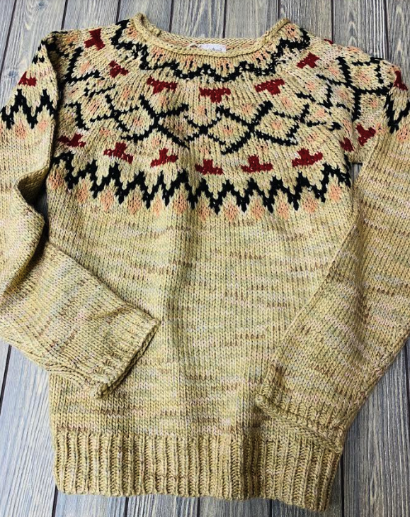 Soft tan & multi-color sweater - Juli & Boutique