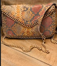 Load image into Gallery viewer, Snakeskin Print Crossbody Bag with Chain Strap - Juli & Boutique