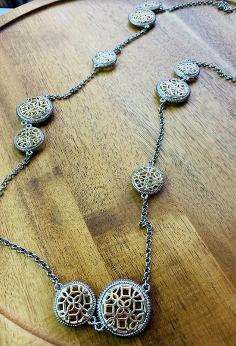 Silver & Gold woven Disc Long Necklace - Juli & Boutique