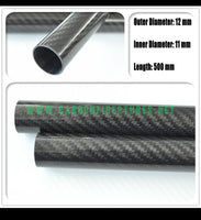 OD 12mm X ID 8mm 10mm 11mm X 500MM 100% Roll Wrapped Carbon Fiber Tube 3K /Tubing 12*8 12*10 12*11