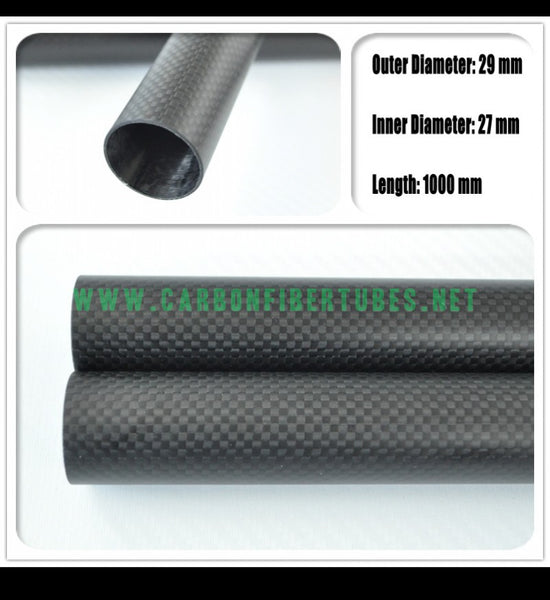 OD 29mm X ID 27mm X 1000MM 100% Roll Wrapped Carbon Fiber Tube 3K /Tubing 29*27 3K Plain Glossy