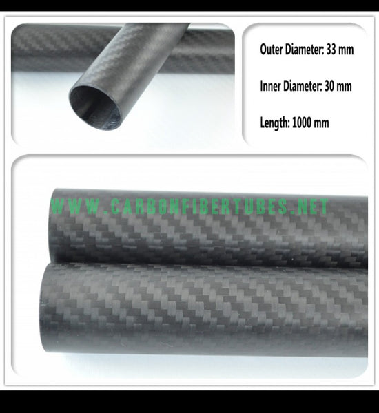 OD 33mm X ID 30mm X 1000MM 100% Roll Wrapped Carbon Fiber Tube 3K /Tubing 33*30 3K Twill Matte