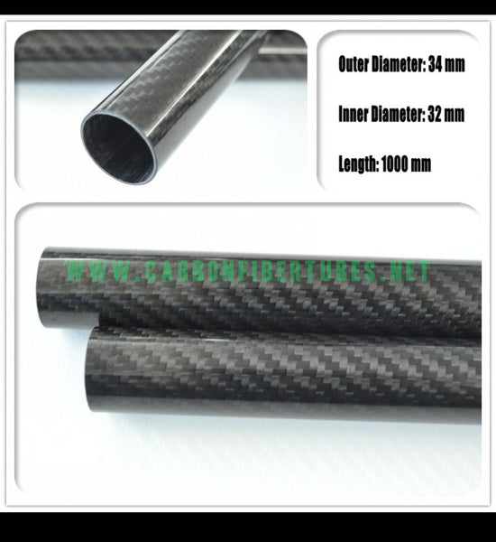 OD 34mm X ID 32mm X 1000MM 100% Roll Wrapped Carbon Fiber Tube 3K /Tubing 34*32 3K Twill Glossy