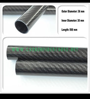 OD 36mm X ID 30mm 34mm X 500MM 100% Roll Wrapped Carbon Fiber Tube 3K /Tubing 3k Twill Glossy 36*30 36*34
