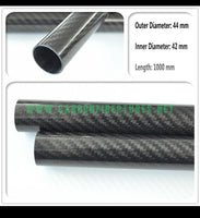 OD 44mm X ID 42mm X 1000MM 100% Roll Wrapped Carbon Fiber Tube 3K /Tubing 44*42 3K Twill Glossy