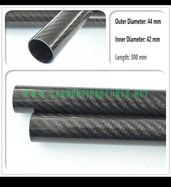 OD 44mm X ID 42mm X 500MM 100% Roll Wrapped Carbon Fiber Tube 3K /Tubing 44*42*500mm 3K Twill Glossy