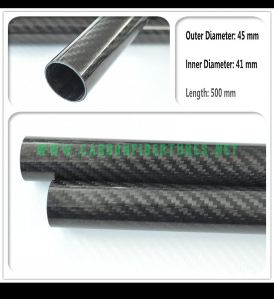 OD 45mm X ID 41mm X 500MM 100% Roll Wrapped Carbon Fiber Tube 3K /Tubing 45*41*500mm 3K Twill Glossy