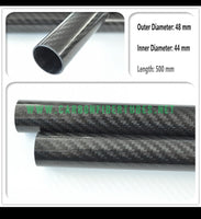 OD 48mm X ID 44mm 46mm X 500MM 100% Roll Wrapped Carbon Fiber Tube 3K /Tubing 48*44 48*46 3K Twill Glossy