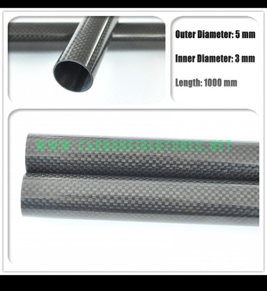 OD 5mm X ID 3mm X 1000MM 100% Roll Wrapped Carbon Fiber Tube 3K /Tubing 5*3 3K Plain Glossy