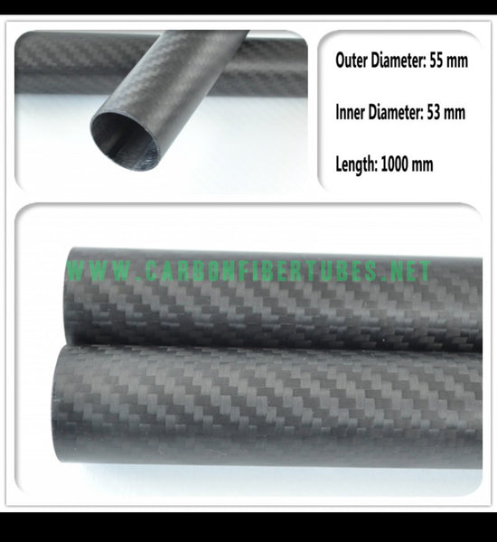 OD 55mm X ID 53mm X 1000MM 100% Roll Wrapped Carbon Fiber Tube 3K /Tubing 55*53 3K Twill Matte