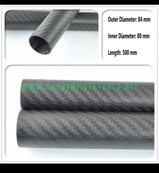 OD 84mm X ID 80mm X 500MM 100% Roll Wrapped Carbon Fiber Tube 3K /Tubing 84*80 3K Twill Matte