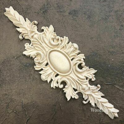 FLORAL PEDIMENT 23cm x 7.4cm Decorative Antique Moulding Applique WoodUbend #2111