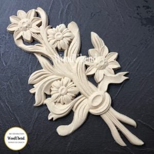 FLOWER BOUQUET 22.7 x 12.6 cms Decorative Antique Moulding Applique WoodUbend #0513