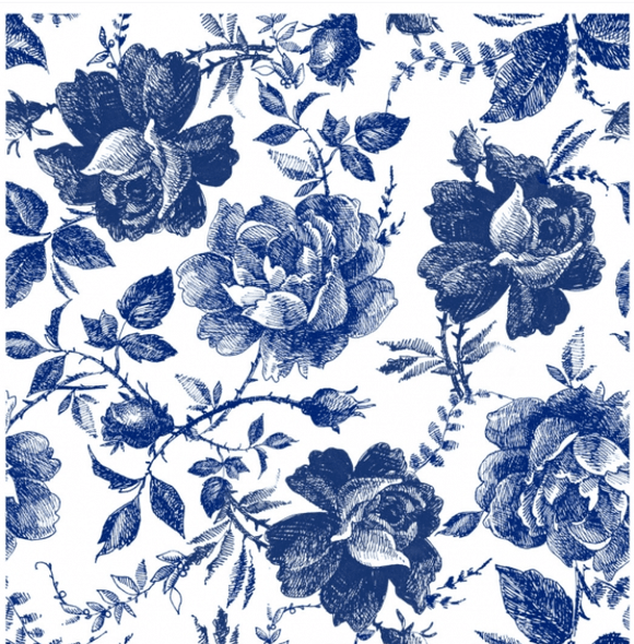 Sketched Blue Flowers Decoupage Rice Paper Belles and Whistles by Dixie Belle