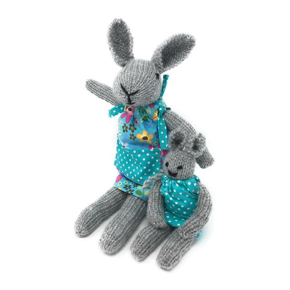 Knit Your Own Bunnies Kit - Finished Size Approx 35cm mum, 20cm baby