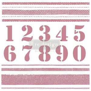 Stripes and Numbers Cling Clear Stamp ReDesign with Prima