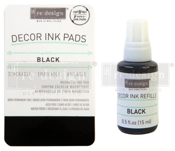 Decor Ink Pads and Refills in Black- ReDesign with Prima