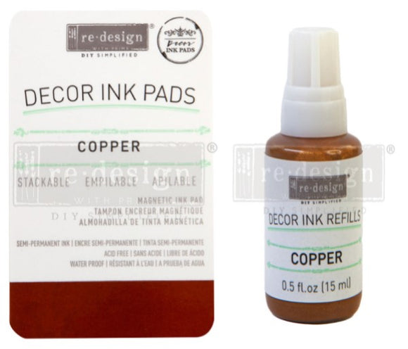 Decor Ink Pads and Refills in Copper- ReDesign with Prima