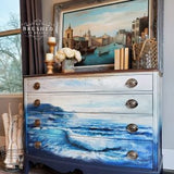 BLUE WAVE - Furniture and Wall Decal Transfer - Redesign Decor Transfer Decal