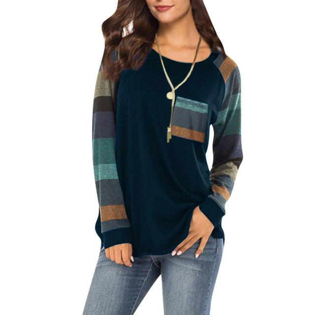 Stripe Sleeve Patchwork Casual Top