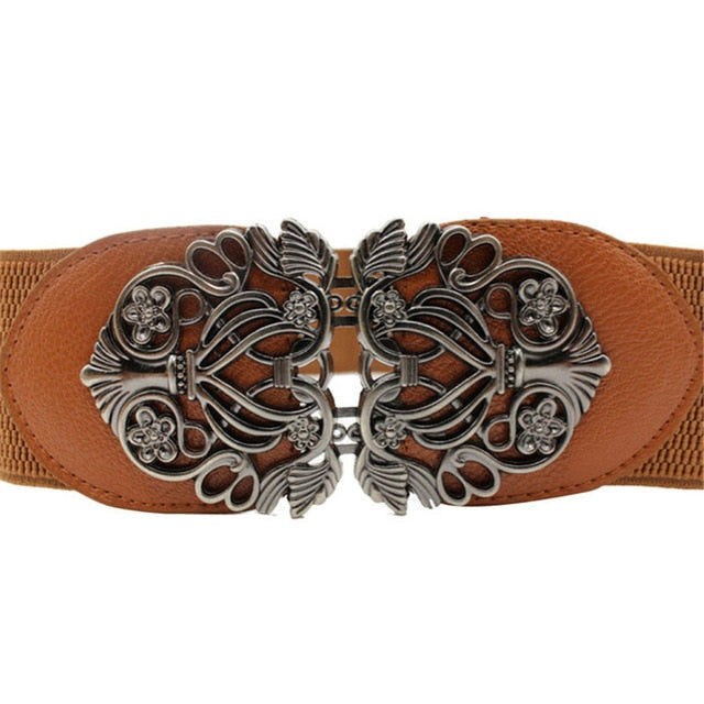 Leather Flower Women's Waist Belt